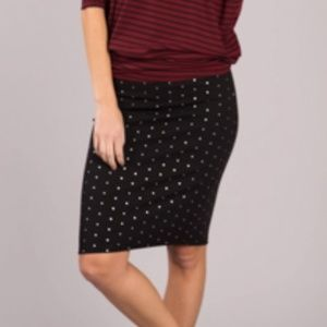 Pencil Skirt - Black with Silver Dots - S